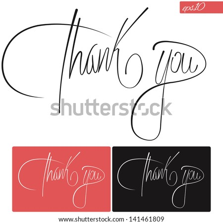 Thank You Typography Vector Set Stock Vector