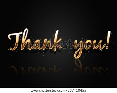 Thank You, Vector Greeting Card Template, Golden Shiny Banner on Dark Background - stock vector