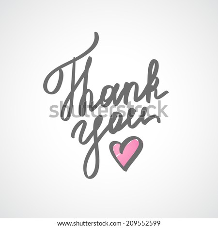 thank you, vector handwritten text with heart - stock vector