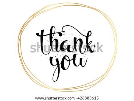 Thank you vector inscription. Hand drawn thank you calligraphy. Thank you text - stock vector