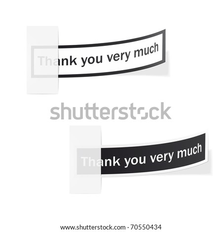 Thank you very much - black and white, stylish labels. Vector - stock vector