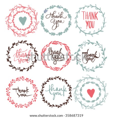 Thank you very much handwritten vector illustration. Beautiful wreaths with inscriptions - stock vector