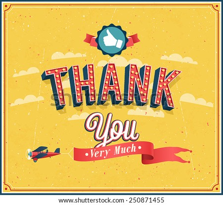 Thank you very much vintage emblem. Vector illustration. - stock vector