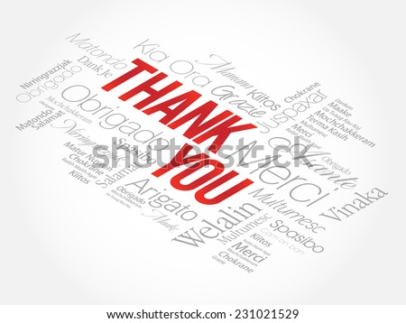 Thank You Word Cloud in vector format, presentation background - stock vector