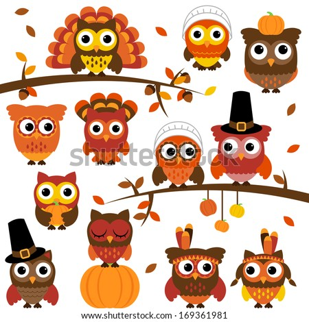 Thanksgiving and Autumn Themed Vector Owl Collection with Branches - stock vector
