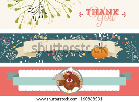 Thanksgiving banners, Vintage happy Thanksgiving Day Labels  - stock vector