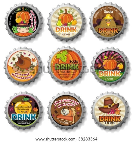 Thanksgiving bottle caps with colorful leaves, pumpkin, pear, apple, berries, pumpkin pie, turkey. Can be used as buttons. - stock vector