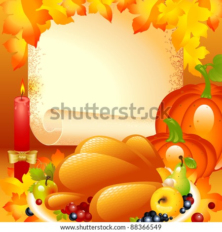 Thanksgiving card. background with turkey, the composition of fruits and vegetables in the background of the old roll of paper and a candle with a bow on top autumn leaves. - stock vector