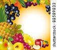Thanksgiving card. banner to Thanksgiving. fruit background. - stock vector