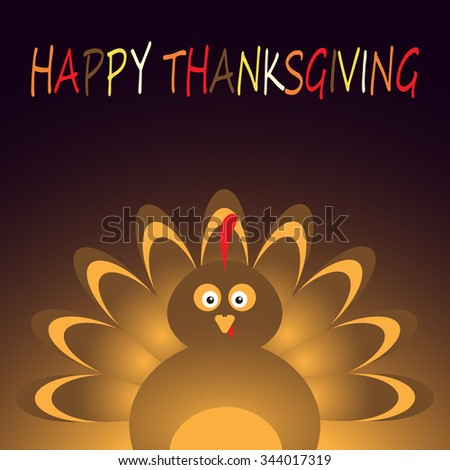 Thanksgiving card with beautiful cartoon of a turkey bird on the black  background. Happy Thanksgiving Day celebration on stylish nature background. - stock vector