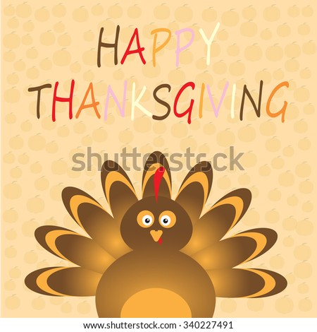 Thanksgiving card with beautiful cartoon of a turkey bird on the yellow background. Happy Thanksgiving Day celebration on stylish nature background. - stock vector