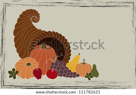 Thanksgiving card with cornucopia full of food - stock vector
