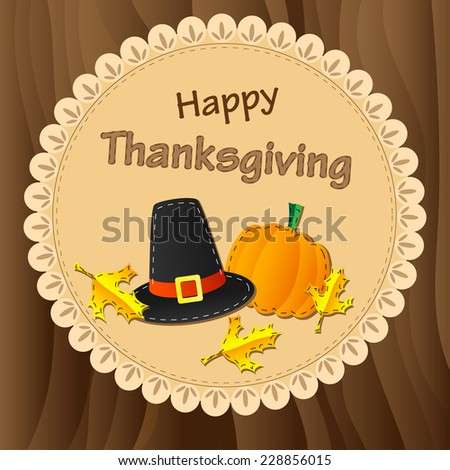 Thanksgiving card with pumpkin and pilgrims hat on wood background