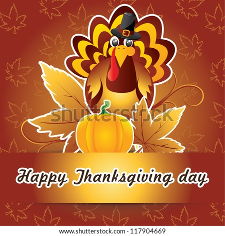 Thanksgiving card with turkey - stock vector