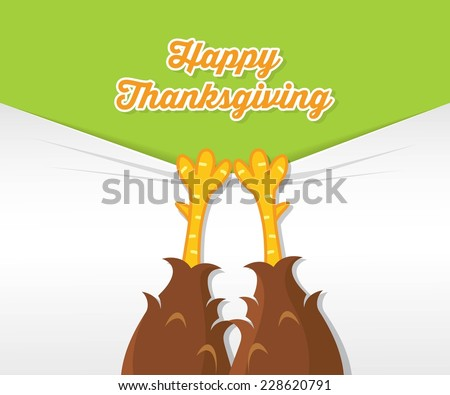 Thanksgiving card with turkey legs - vector illustration