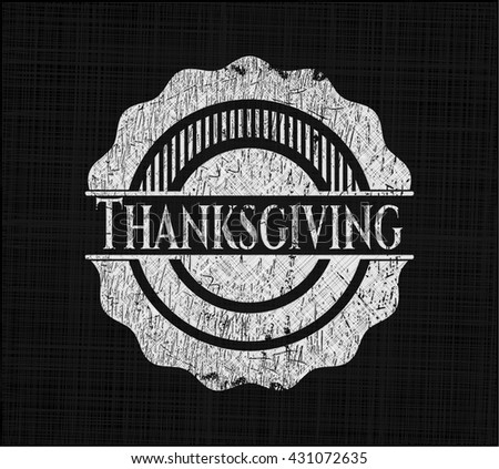 Thanksgiving chalk emblem written on a blackboard - stock vector
