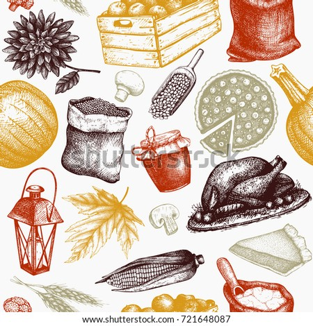 Thanksgiving Day Background Vector Seamless Pattern With Hand Drawn Traditional Food Illustrations Family Dinner