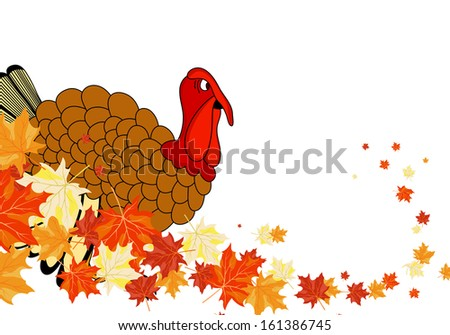 Thanksgiving Day background with maple leaves. All objects are separated. Vector illustration Eps 10. - stock vector