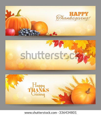 Thanksgiving Day banners. Vector illustration. - stock vector