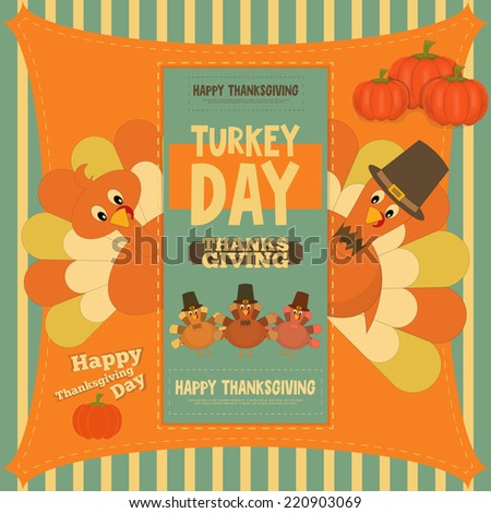 Thanksgiving Day Card. Poster with Cartoon Turkey. Vector Illustration. - stock vector