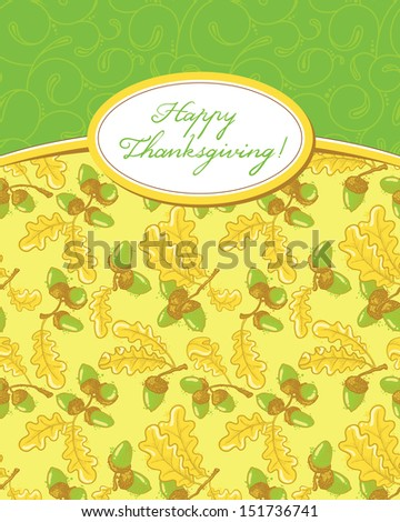 Thanksgiving Day card with acorn pattern