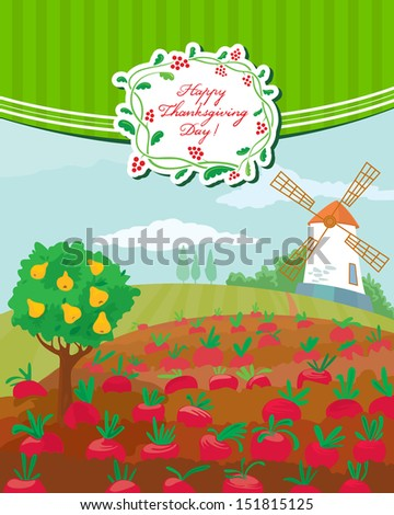 Thanksgiving Day cute greeting card - stock vector