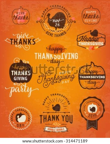 Thanksgiving Day Design Elements, Badges and Labels in Vintage Style - stock vector