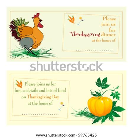 Thanksgiving day/dinner invitations against white background - stock vector