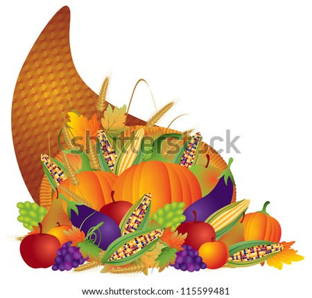 Thanksgiving Day Fall Harvest Cornucopia with Pumpkins eggplants apples grapes wheat grain corns fruits vegetables vector illustration - stock vector
