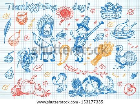Thanksgiving day fun doodles - stock vector