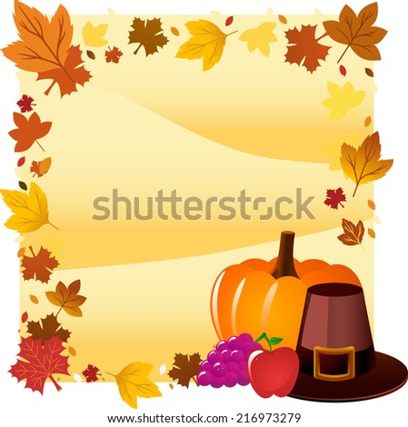 Thanksgiving day hat card design - stock vector