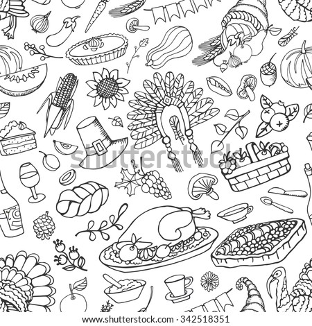 Thanksgiving day icons,doodle seamless pattern.Autumn harvest decor elements.Hand drawing holiday symbols in background,ornament. Linear vintage vector illustration. - stock vector