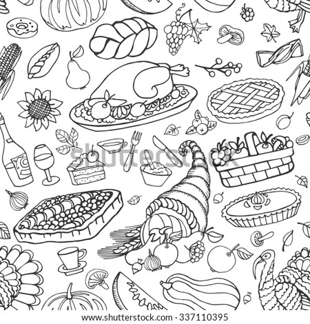 Thanksgiving day icons  seamless pattern,doodle background.Autumn harvest decor elements with wreath .Hand drawing holiday symbols. Linear vintage vector illustration.