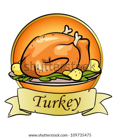 Thanksgiving day logo design, roasted turkey, space for text - stock vector