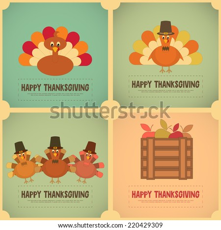 Thanksgiving Day. Retro Posters Set with Cartoon Turkey. Vector Illustration. - stock vector