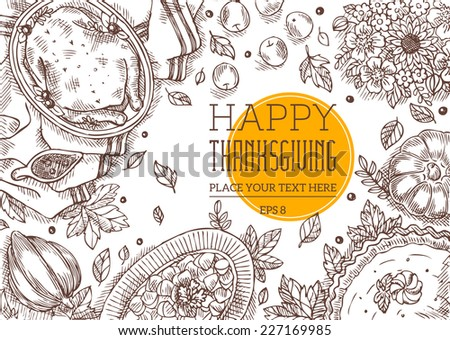 Thanksgiving Day Top View Vintage Greeting Card - stock vector