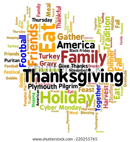 Thanksgiving Day turkey word cloud. Infographic shows the religious and secular, historical and modern celebration of an American Thanksgiving, including watching football and going shopping. Vector. - stock vector