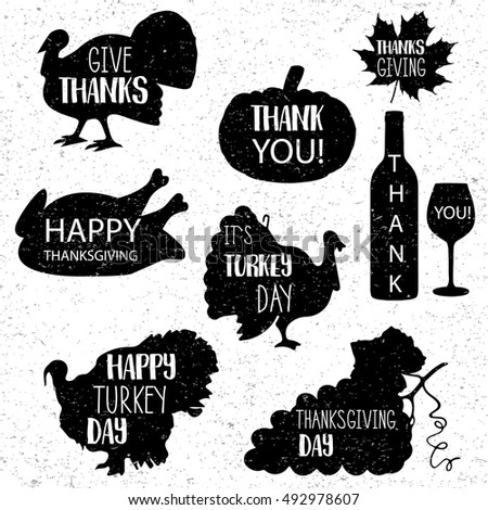 Thanksgiving Day Vector 10 Eps Black Vintage Grunge Icons Isolated On White Background