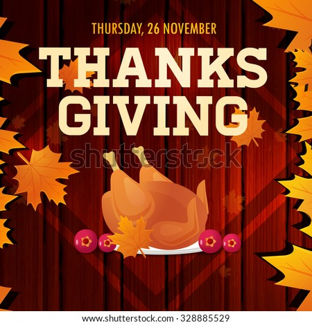Thanksgiving Day with turkey, vector illustration - stock vector