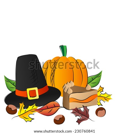 Thanksgiving decoration with pumpkin and pilgrims hat