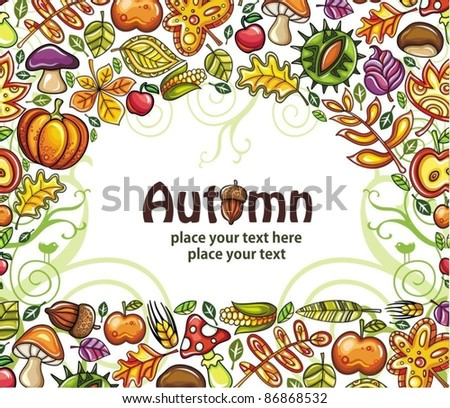 Thanksgiving Design: colorful leaves flying around pumpkin,pear,apple - stock vector