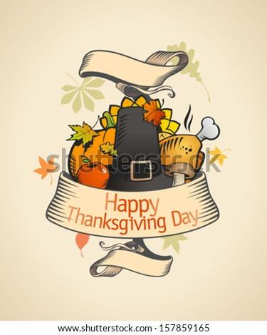 Thanksgiving design in retro style with ribbon and  traditional stuffs. Eps10 - stock vector
