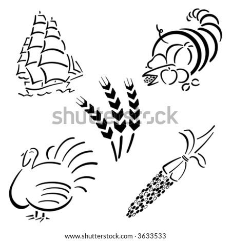 Thanksgiving Design Set - stock vector