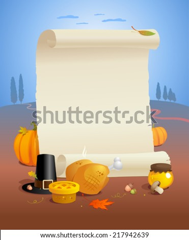 Thanksgiving design with paper roll and traditional stuffs. - stock vector