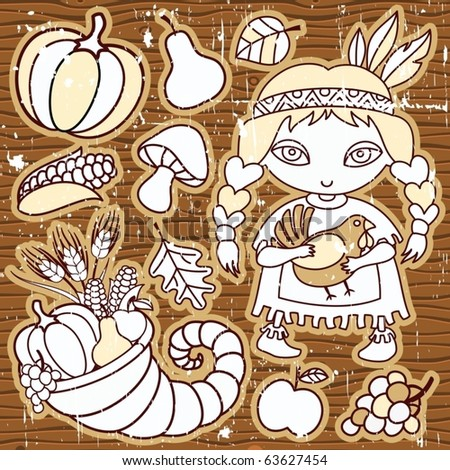 Thanksgiving elements on the wooden background. Grunge.  Native girl with turkey in her hands Cornucopia, vegetables, fruits. - stock vector