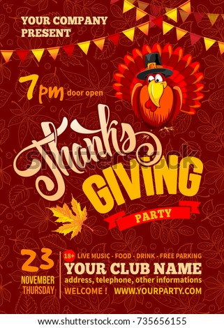 Thanksgiving flyer poster template red background stock vector thanksgiving flyer or poster template red background with line art leaves pattern cheerful turkey pronofoot35fo Image collections