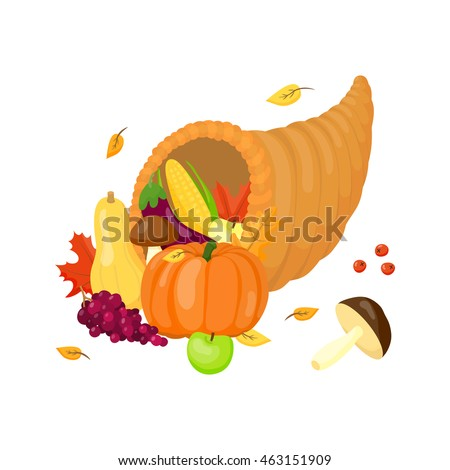 Thanksgiving full cornucopia with vegetables, mushrooms and fruits in cartoon style isolated on white background.