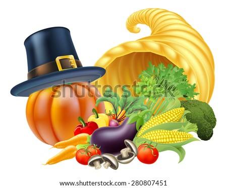 Thanksgiving golden horn of plenty cornucopia full of vegetables and fruit produce with a pilgrim or puritan thanksgiving hat - stock vector