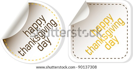 Thanksgiving greeting tags design elements. vector set - stock vector