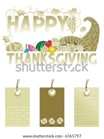 Thanksgiving greeting with cornucopia and same colors tags design elements ( for high res JPEG or TIFF see image 6364912 )  - stock vector